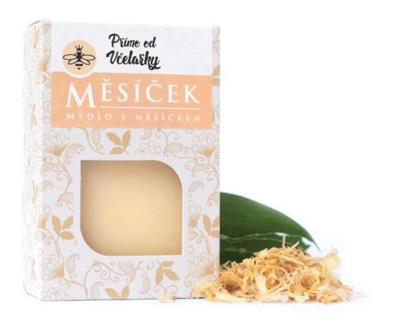 Přírodní měsíčkové mýdlo s kozím jogurtem Měsíček Přímo od Včelařky zabaleno v krabičce