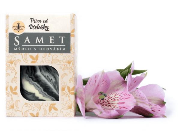 Přírodní pleťové mýdlo Samet s hedvábím a kakaovým máslem Přímo od Včelařky zabaleno v krabičce