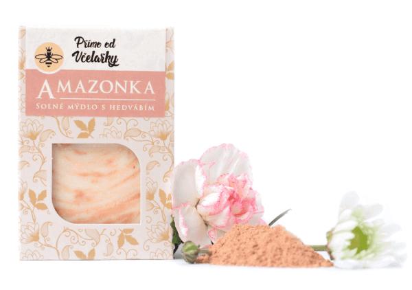 Solné mýdlo Amazonka s hedvábím a růžovým jílem Přímo od Včelařky zabaleno v krabičce