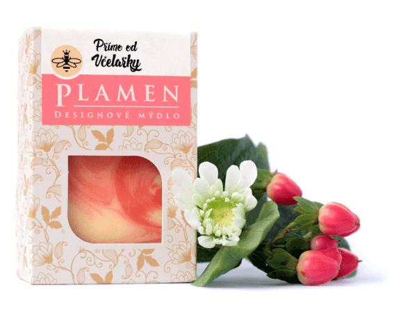 Přírodní designové mýdlo s bambuckým máslem Plamen v krabičce