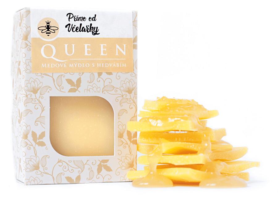 Přírodní medové mýdlo Queen s medem, včelím voskem a hedvábím Přímo od Včelařky zabaleno v krabičce